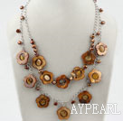 Brown Freshwater Pearl and Brown Hollow Shell Flower Necklace with Metal Chain