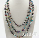 Multi Strands Assorted Multi Color Multi Stone Chips Necklace