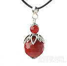 Classic Design Faceted Natural Color Agate Pendant Necklace