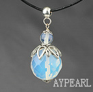 Wholesale Classic Design Faceted Opal Crystal Pendant Necklace