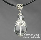 Classic Design Round White Crystal Pendant Necklace