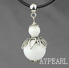 Wholesale Classic Design White Stone Pendant Necklace with Adjustable Chain