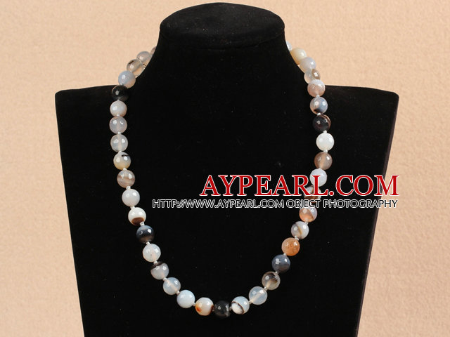 Classic Design 10mm Round Gray Agate Beaded Necklace