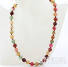 Wholesale Classic Design 10mm Round Three Colored Jade Beaded Necklace