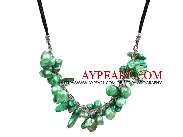 New Arrival Green Color Teeth Shape Pearl Necklace with Lobster Clasp