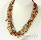 Wholesale multi strand multi color rutilated quartz necklace with shell flower clasp