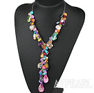 Wholesale multi color shell beads Y shape necklace with extendable chain