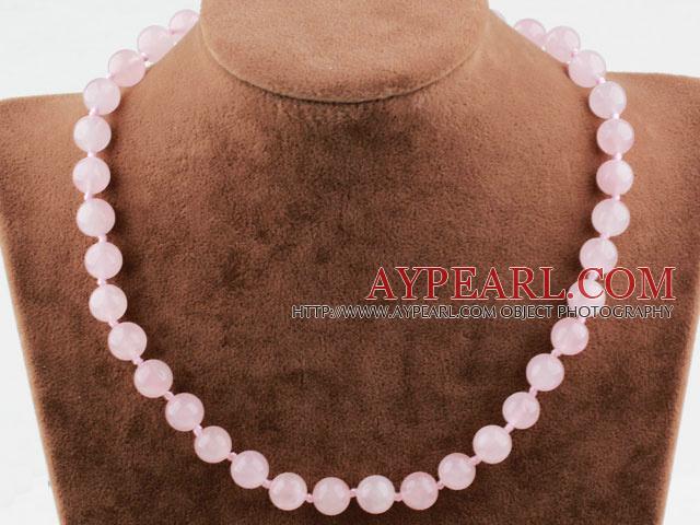 Classic Design 10mm Round Rose Quartz Beaded Necklace
