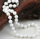 Wholesale Classic Design 10mm Round Nautral White Sea Shell Beaded Necklace