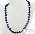 Classic Design 10mm Round Faceted Blue Agate Beaded Necklace
