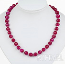 Wholesale Classic Design 10mm Round Faceted Rose Red Agate Beaded Necklace with Ball Shape Magnetic Clasp