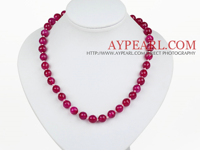 Classic Design 10mm Round Faceted Rose Red Agate Beaded Necklace with Ball Shape Magnetic Clasp