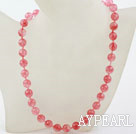 Classic Design 10mm Round Faceted Cherry Quartz Beaded Necklace