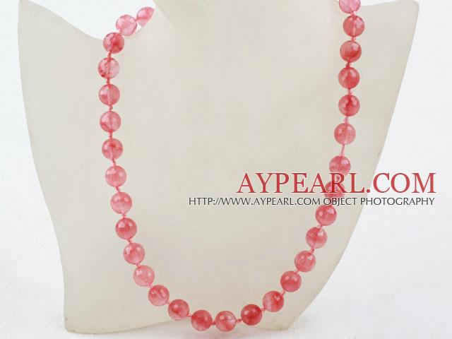 Classic Design 10mm Round Faceted Cherry Quartz Beaded Necklace