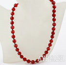 Wholesale Classic Design 10mm Round Faceted Carnelian Beaded Necklace