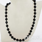 Classic Design 10mm Round Faceted Black Agate Beaded Necklace