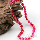 Classic Design 10mm Round Rose Red Agate Beaded Necklace