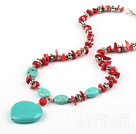 saleable red coral turquoise and tibet silver necklace with lobster clasp