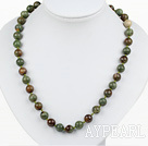 Classic Design 10mm Round Green Gemstone Beaded Necklace