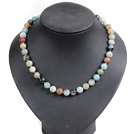 Classic Design 10mm Round Amazon Stone Beaded Necklace