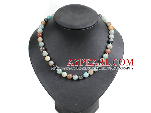 Classic Design 10mm Round Amazon Stone Beaded Necklace