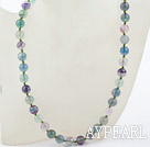 Classic Design 10mm Round Rainbow Fluorite Beaded Necklace