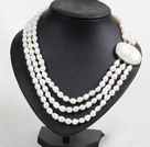 Fashion Party Style 3 Strand Natural 8-9mm White Baroque Pearl Necklace With Beauty Head Clasp