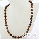 Classic Design 10mm Round Tiger Eye Beaded Necklace