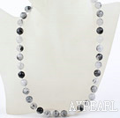 Wholesale Classic Design 10mm Black Rutilated Quartz Beaded Necklace