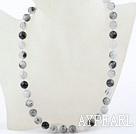 Wholesale Classic Design 10mm Black Rutilated Quartz Beaded Necklace