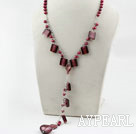 Wholesale Red Brown Freshwater Pearl and Colored Glaze Necklace with Metal Chain
