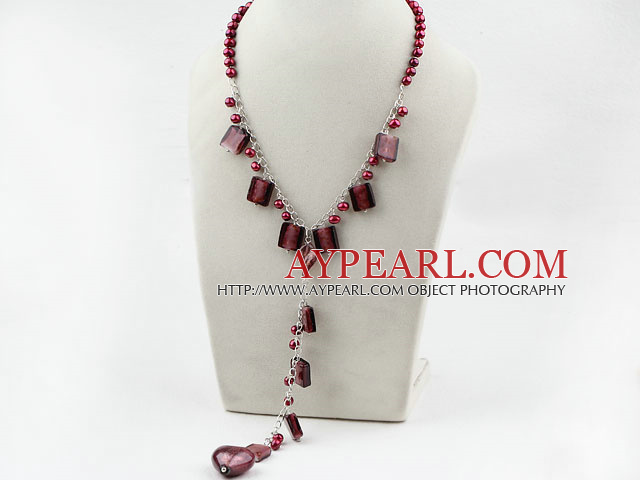 Red Brown Freshwater Pearl and Colored Glaze Necklace with Metal Chain