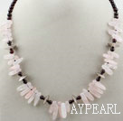Garnet ronde et rose Collier Quartz