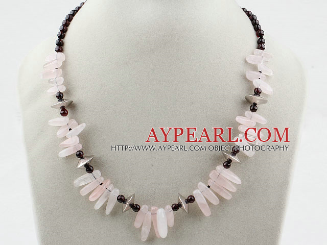 Elegant Round Garnet And Teeth Shape Rose Quartz Beaded Necklace With Lobster Clasp