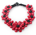 Wholesale 2013 Summer New Design Red Coral Turquoise Flower Party Necklace