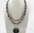 Wholesale Multi Strands Indidan Agate Necklace with Metal Chain