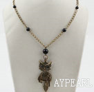 Vintage Style Black Agate and Owl Pendant Necklace with Bronze Chain