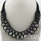 Fashion Style Clear Crystal and Black Velvet Ribbon Woven Bold Bib Necklace