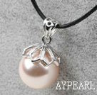 Classic Design Round Shape 16mm Nude Color Seashell Pendant Necklace