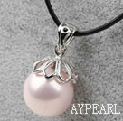 Classic Design Round Shape 16mm Baby Pink Seashell Pendant Necklace