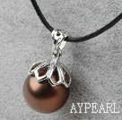 Classic Design Round Shape 16mm Coffee Color Seashell Pendant Necklace