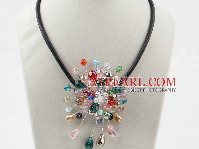 Assorted Multi Color Crystal Flower Necklace