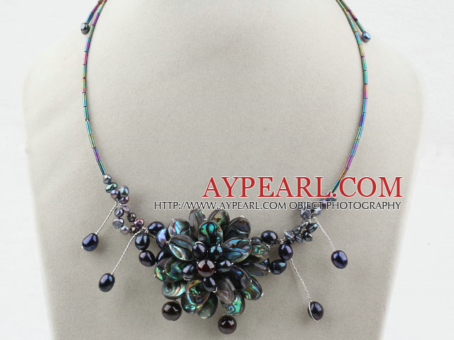 Black Freshwater Pearl and Abalone Shell Flower Necklace