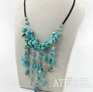 Assorted Turquoise Necklace with Black Cord