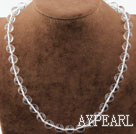 Classic Design Faceted White Manmade Crystal Beaded Necklace