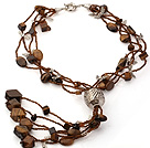 Assorted Tiger Eye Stone Y Shape Tassel Necklace