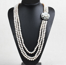 Pretty Fashion 3 Strand 8-9mm Natural Near Round White Freshwater Pearl Necklace (Sweater Chain) With Shell Flower Clasp