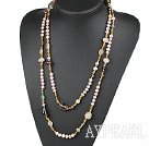 Wholesale Long Style Pink Freshwater Pearl and Crystal and Multi Stone Necklacr