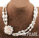 Wholesale New Design Three Strands Natural White Freshwater Pearl Bridal Necklace