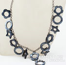 New Design Hollow Black Shell Necklace with Metal Chain